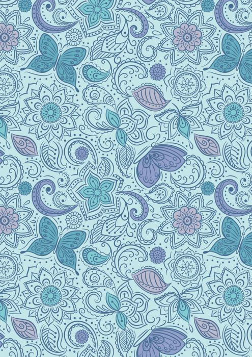 Fat Quarter 100/% Cotton fabric material patchwork Lotus Flower Blue With Border