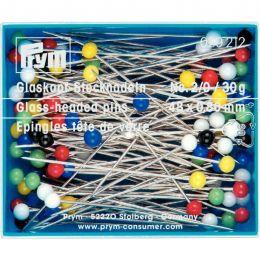 Glass Headed Tailoring & Dress Pins, Ex Long, Asst Col 30g | Prym