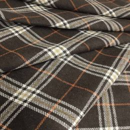 Wool Blend Fabric | Rich Brown Plaid