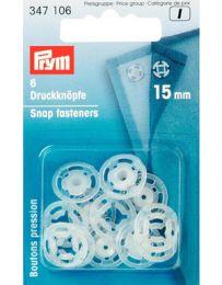 Snap Fastener Plastic, Round 15mm Transparent | Prym