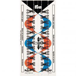 Hooks & Eyes, Steel Size 2, Black, 24pcs Stitched Card | Prym