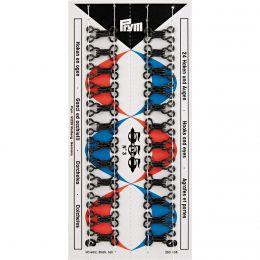 Hooks & Eyes, Steel Size 3 Lrg, Black, 24pcs Stitched Card | Prym