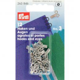Hooks & Eyes, Brass Size 3 Large, Silver, 12pcs | Prym
