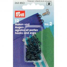 Hooks & Eyes, Brass Size 2 Mid, Black, 12pcs | Prym