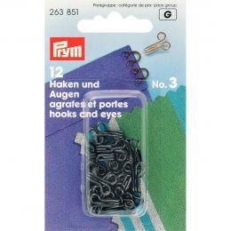 Hooks & Eyes, Brass Size 3 Large, Black, 12pcs | Prym