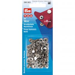 8mm Silver Mini Jersey Cap | Press Fastener Refill for 390360
