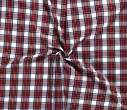 Premium Scottish Check Fabric | Wide Width White