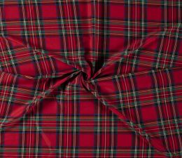 Premium Scottish Check Fabric Light Stretch | Red