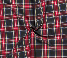 Premium Scottish Check Fabric Light Stretch | Black