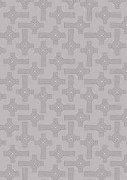 Iona Fabric | Celtic Cross Grey - Silver Metallic