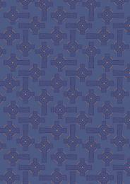 Iona Fabric | Celtic Cross Blue - Silver Metallic