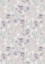 Iona Fabric | Thistle Light Grey - Silver Metallic
