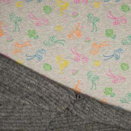 Luxury Sweatshirt Fabric | Melange Multi Colour Flamingo