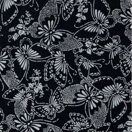 Extra Wide Fabric | Butterflies Black/White