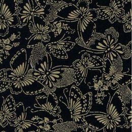 Extra Wide Fabric | Butterflies Black/Metallic Gold