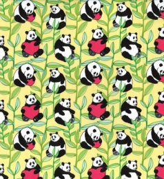 Cotton Print Fabric   Panda Yellow