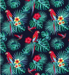 Cotton Print Fabric   Parott Navy