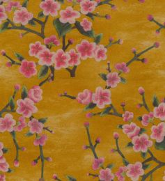Scuba Suede Fabric Print | Spring Buds Ochre