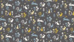 Grove Fabric Makower | Rabbits Grey