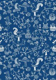 Teatime Lewis & Irene Fabric | Teatime Cream on Dark Blue