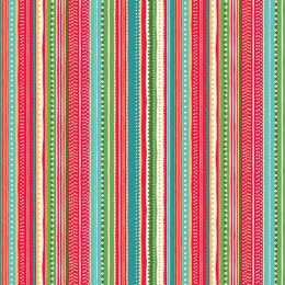 Let It Snow Fabric   Dotty Stripe Red