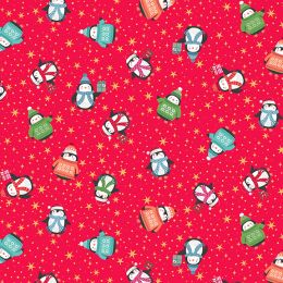 Let It Snow Fabric | Peguins Red