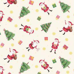 Let It Snow Fabric   Santa Cream