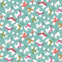 Let It Snow Fabric   Polar Bears Turquoise