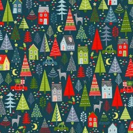 Christmas Joy Fabric | Trees Blue