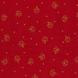 Cotton Fabric Metallic Print   Angels Red