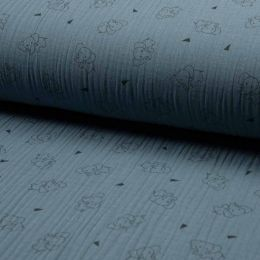 Triple Gauze Fabric | Elephant Dusty Blue