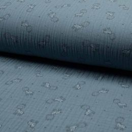 Triple Gauze Fabric | Giraffe Dusty Blue