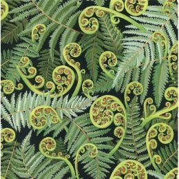 Extra Wide Fabric   Koru Frond Green