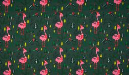 French Terry Fabric | Christmas Flamingo Dusty Green