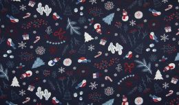 Jersey Cotton Fabric | Christmas Navy