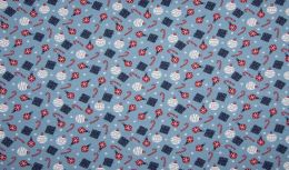 Jersey Cotton Fabric | Christmas Notions Blue