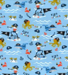 Organic Jersey Fabric | King Of Pirates Pale Blue