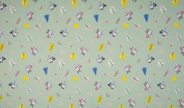 Jersey Cotton Fabric | Snowflake Funky Bird Dusty Green