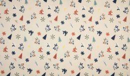Jersey Cotton Fabric   Snowflake Funky Bird Sand