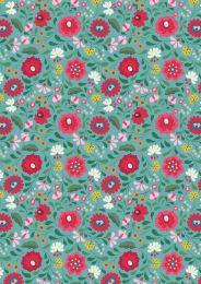 Maya Lewis & Irene Fabric | Folksy Flowers Turquoise