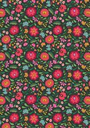 Maya Lewis & Irene Fabric | Folksy Flowers Black