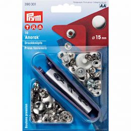 15mm Silver | Anorak Press Fasteners & Tool | Prym