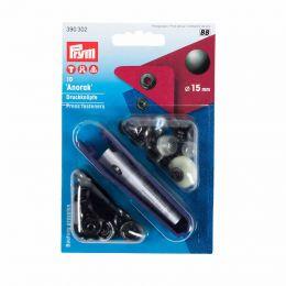 15mm Black Oxidised   Anorak Press Fasteners & Tool   Prym