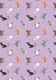 Small Things Pets Fabric | Cats Warm Lilac