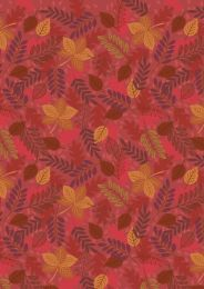 Under The Oak Tree Fabric | Autumn Leaves Rusty Red