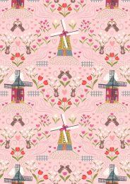 Tulip Fields Lewis & Irene Fabric   Windmills Light Rose