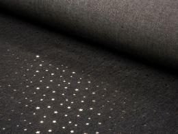 Sparkling Chambray Fabric | Gold Metallic Mini Star on Black