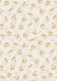 Britannia Fabric | Metallic Gold Crowns Cream