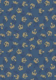 Britannia Fabric | Metallic Gold Crowns Blue