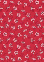 Britannia Fabric   Metallic Gold Crowns Red